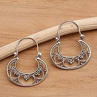 Sterling silver hoop earrings, 'Our Three Hearts' - Sterling Silver Hoop Earrings