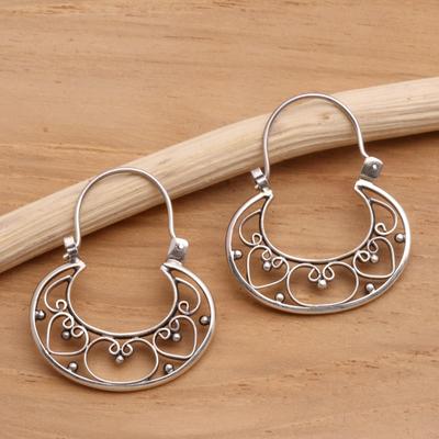 Sterling silver hoop earrings, 'Our Three Hearts' - Sterling Silver Hoop Earrings