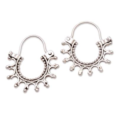 Sterling silver hoop earrings, 'Radiance' - Artisan Crafted Sterling Silver Hoop Earrings