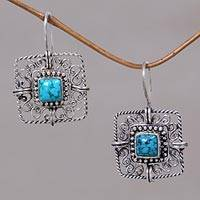 Turquoise filigree earrings, 'Blue Regency' - Turquoise Sterling Silver Filigree Earrings