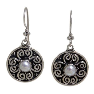 Pearl flower earrings, 'Moon Blossoms' - Floral Sterling Silver Pearl Dangle Earrings