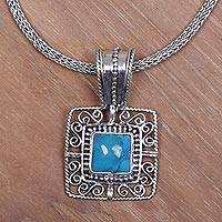Turquoise pendant necklace, 'Blue Regency' - Glorious Turquoise and Silver Pendant Necklace and Chain