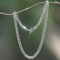 Men's sterling silver chain necklace, 'Ocean Current'