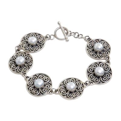 Cultured pearl link bracelet, 'Moon Flower' - Pearl link bracelet