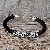 Sterling silver cuff bracelet, 'Frangipani'