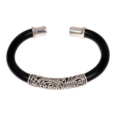 Sterling silver cuff bracelet, 'Frangipani' - Sterling Silver Cuff Bracelet