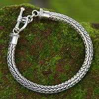 Men's sterling silver braided bracelet, 'Lives Entwined' - Men's Sterling Silver Chain Bracelet