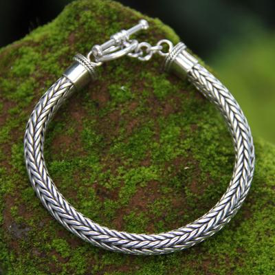 Men's sterling silver braided bracelet, 'Lives Entwined' - Men's Sterling Silver Chain Bracelet