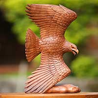 Wood sculpture, 'Eagle Eternal' - Wood sculpture