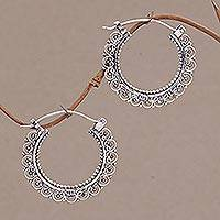 Sterling silver hoop earrings, 'Balinese Lace'