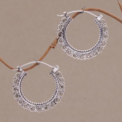 Sterling silver hoop earrings, 'Balinese Lace' - Artisan jewellery Sterling Silver Hoop Earrings
