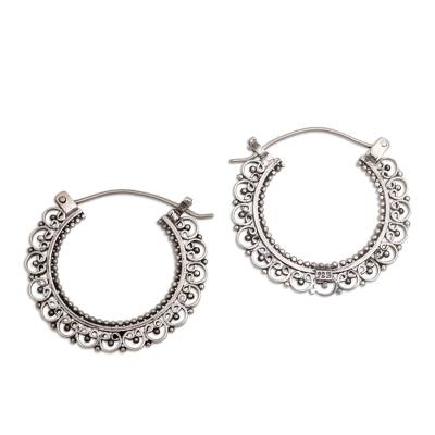 Sterling silver hoop earrings, 'Balinese Lace' - Artisan Jewelry Sterling Silver Hoop Earrings