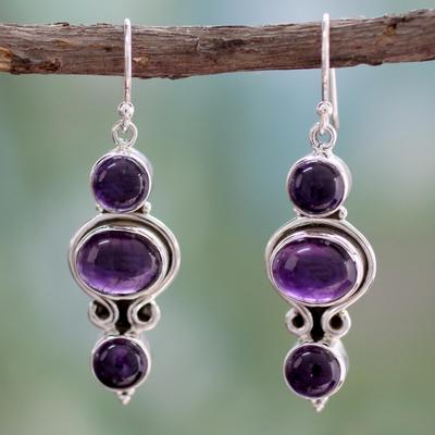 Amethyst dangle earrings, 'Elegant Fantasy' - Amethyst and Sterling Silver Earrings from India