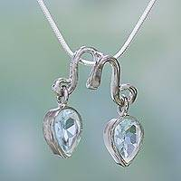 Topaz pendant necklace, 'Twin Teardrops' - Topaz pendant necklace