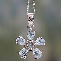 Blue topaz floral necklace, 'Forget-Me-Not' - Hand Made Floral Sterling Silver and Blue Topaz Necklace