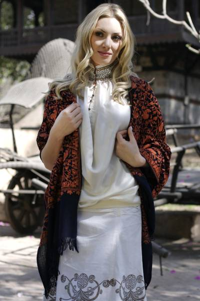 Wool shawl, 'Sparkling Paisley' - Handcrafted Paisley Wool Embroidered Shawl