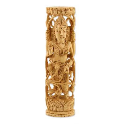 Wood statuette, 'Lakshmi, Goddess of Prosperity' - Hinduism Wood Sculpture Artisan Crafted