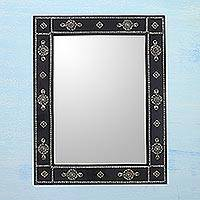 Teak mirror, 'Ebony Jewels' - Teak mirror