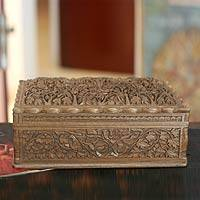 Walnut jewelry box, 'Floral Dance' - Handcrafted Floral Motif Wood Jewelry Box from India