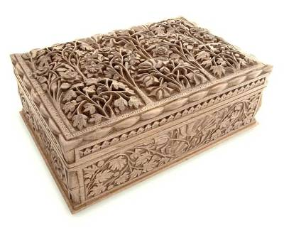 Floral Wood Jewelry Box from India