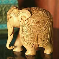 Wood sculpture, 'Elephant Majesty' - Fair Trade Hand Carved Wood Elephant Sculpture from India