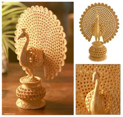 Wood sculpture, 'Peacock Pose' - Hand Carved Jali Style Wood Peacock Sculpture India