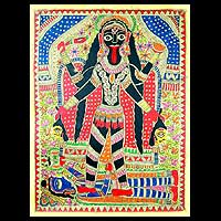 Madhubani painting, 'Angry Goddess Kali' - Indian Madhubani Painting