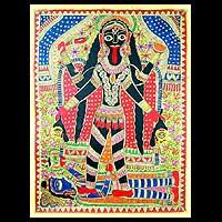 Madhubani painting, 'Angry Goddess Kali' - Madhubani painting