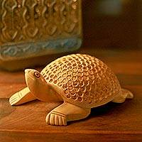 Wood statuette, 'Lucky Turtle' - Handcrafted Wooden Turtle Sculpture