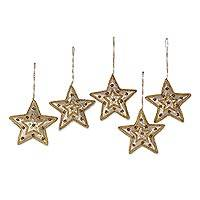 Beadwork ornaments, 'Glorious Star' (set of 5) - Gleaming Gold Stars Christmas Beadwork Ornaments Set of 5