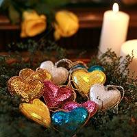 Ornaments, 'Sparkling Hearts' (set of 10) - Indian Hand Made Heart Shaped Ornaments (Set of 10)