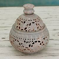 Soapstone jar, 'Ivy and Lace' - Hand Carved Soapstone Decorative Jar from India