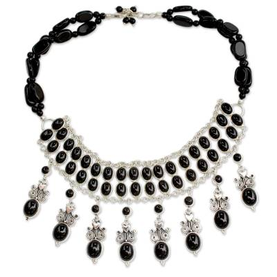 Hand Made Sterling Silver Onyx Necklace Indian Jewelry