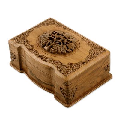 Walnut jewelry box, 'Vineyard' - Walnut jewellery box