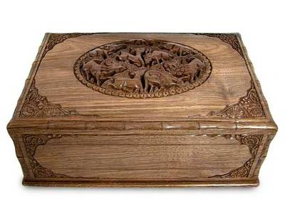 Walnut jewelry box, 'A Walk in the Forest' - Hand Carved Wood jewellery Box