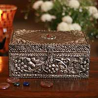Brass jewelry box, 'Vineyard' - Repousse Brass Jewelry Box