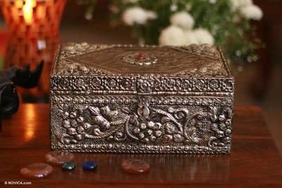 Brass jewelry box, 'Vineyard' - Repousse Brass Jewelry Box
