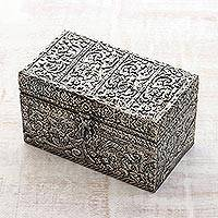 Brass jewelry box, 'Fruit of the Vine' - Handcrafted Repousse Brass jewellery Box