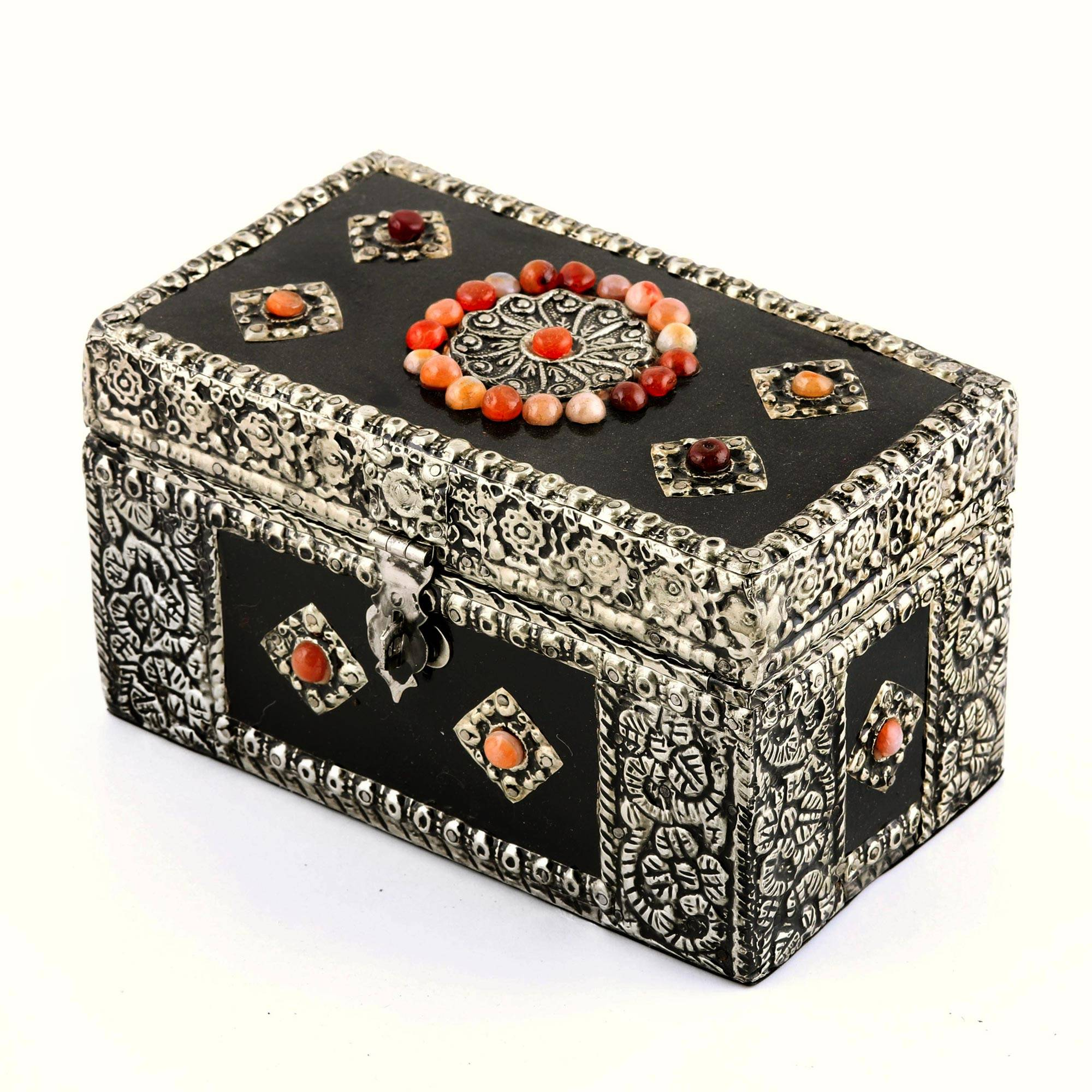 World Market Jewelry Box Enchanting Handcrafted Repousse Brass Jewelry Box Treasure Chest NOVICA