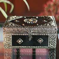 Brass jewelry box, 'Enchantment' - Hand Made Repousse Brass jewellery Box