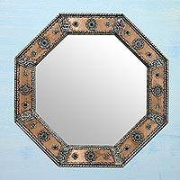 Mirror, 'Crown Jewels' - Octagonal Wall Mirror Copper Nickel Handmade in India