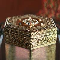 Brass jewelry box, 'Golden Era' - Hand Made Repousse Brass Jewelry Box