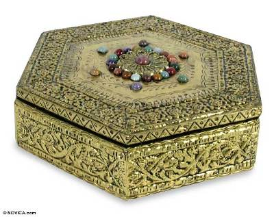 Brass jewelry box, 'Golden Era' - Hand Made Repousse Brass Jewelry Box