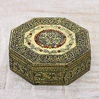 Brass jewelry box, 'Golden Treasures' - Hand Crafted Repousse Brass jewellery Box