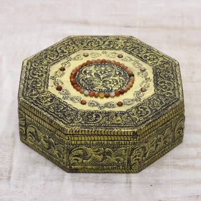 Brass jewelry box, 'Golden Treasures' - Hand Crafted Repousse Brass Jewelry Box