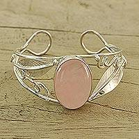 Rose quartz cuff bracelet, 'Love Bud' - Sterling Silver Cuff Rose Quartz Bracelet