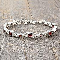 Garnet tennis bracelet, 'Sleek and Chic'