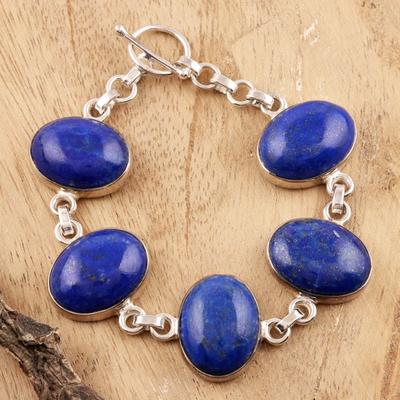 Lapis lazuli link bracelet, 'Love Truly' - Sterling Silver and Lapis Lazuli Link Bracelet