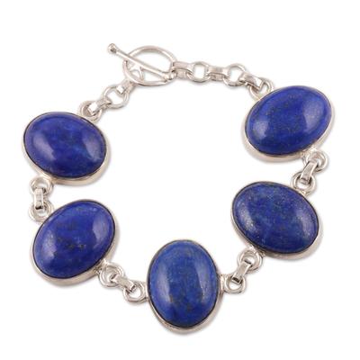 Sterling Silver and Lapis Lazuli Link Bracelet