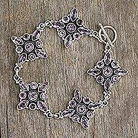 Amethyst flower bracelet, 'Violet Constellation' - Amethyst Floral Sterling Silver Bracelet from India